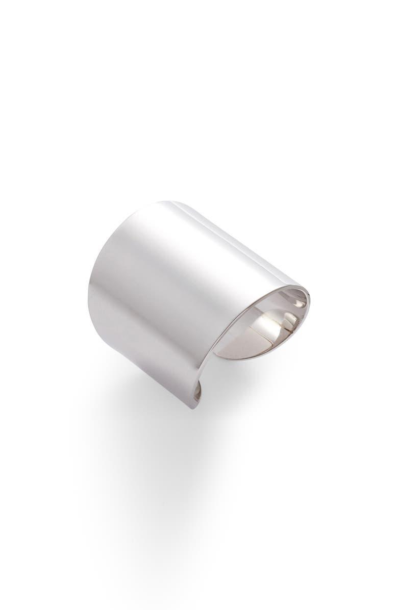 LISA FREEDE Cuban Adjustable Band Ring, Main, color, RHODIUM