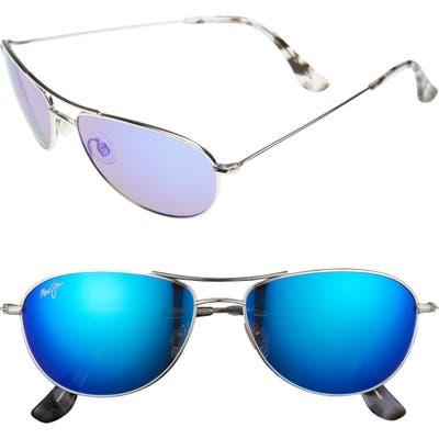 Maui Jim Baby Beach 5m Polarizedplus2 Aviator Sunglasses - Silver/ Blue Hawaii