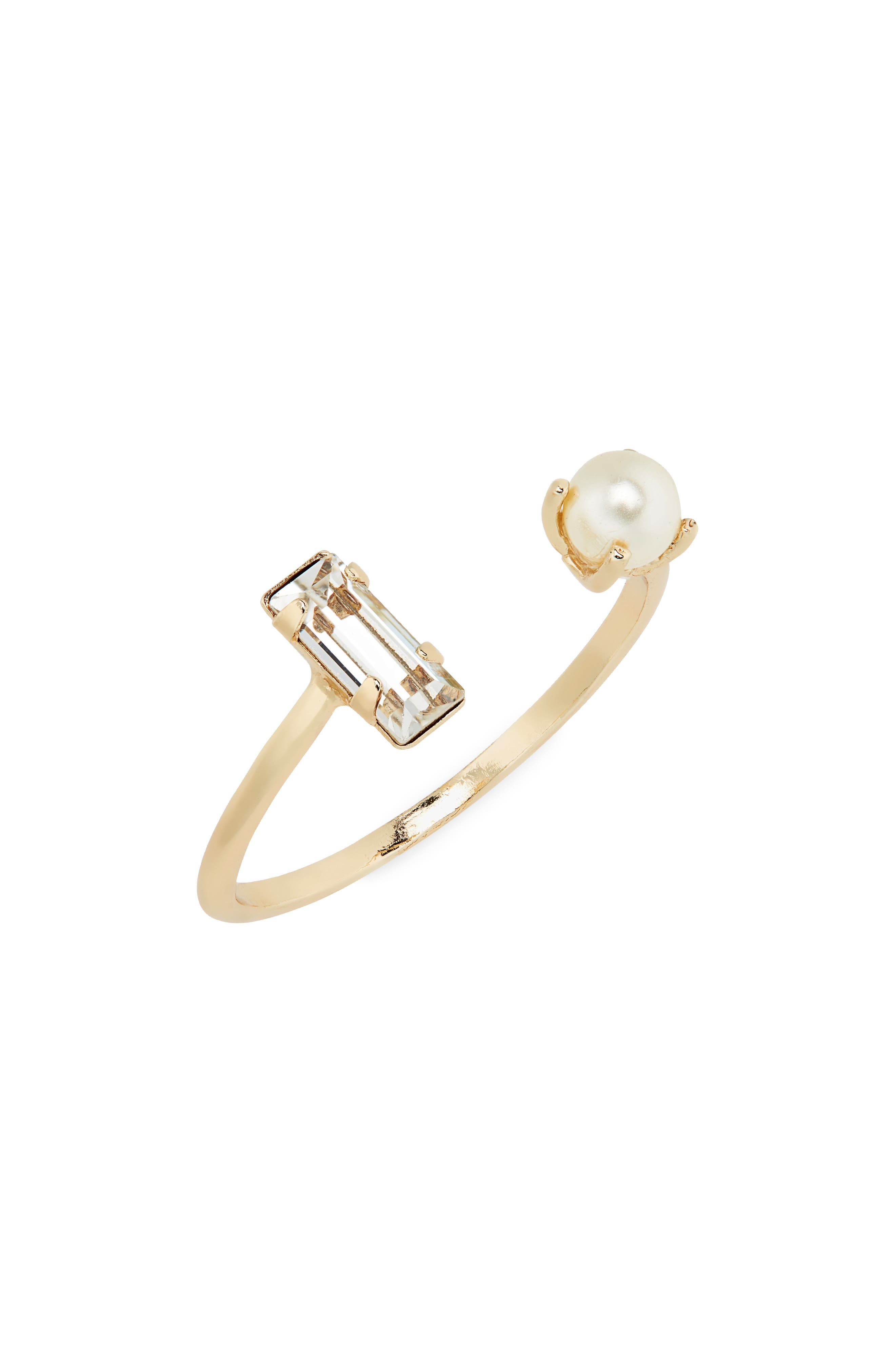 Open Imitation Pearl & Crystal Ring