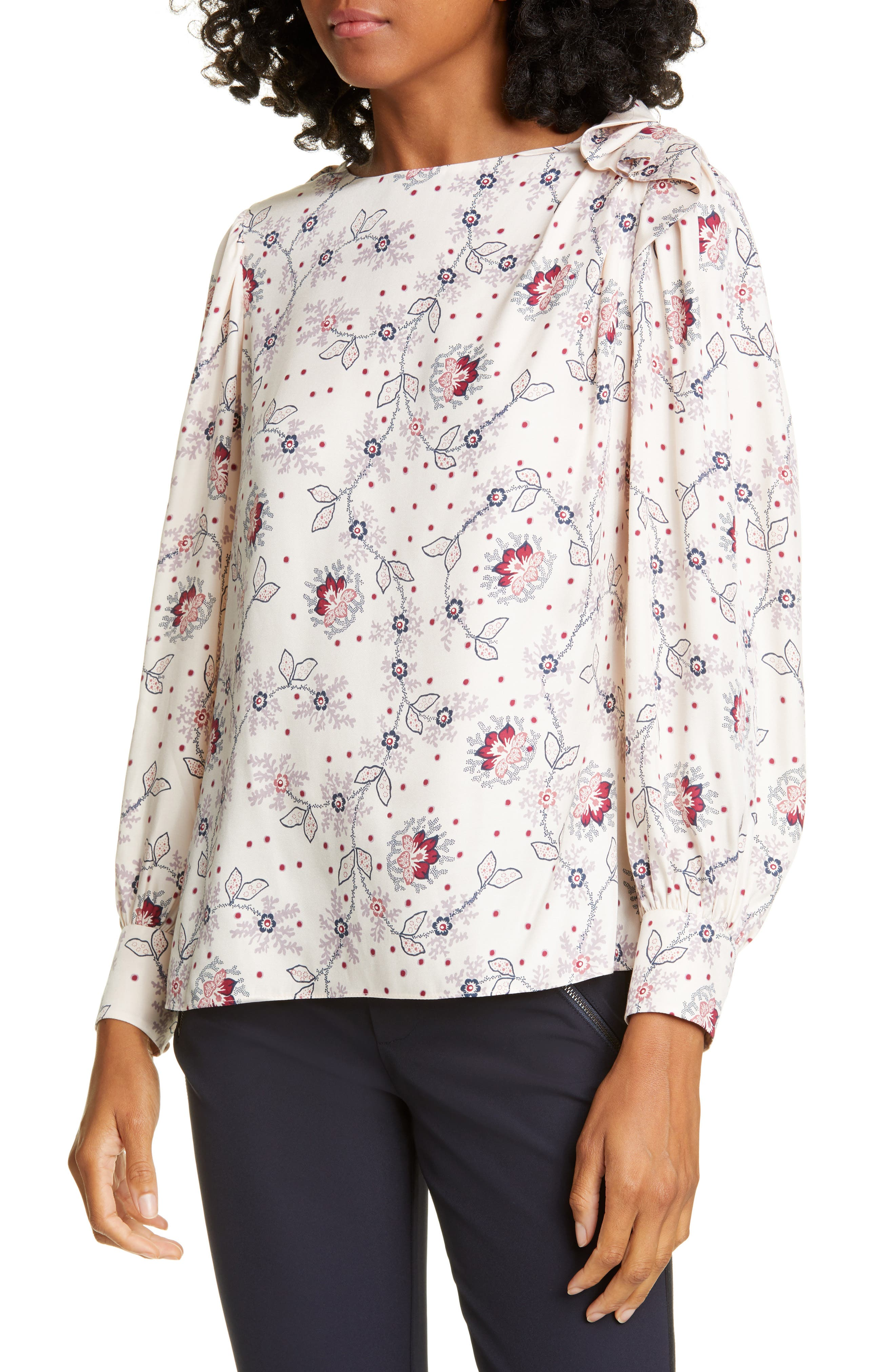 Image of Rebecca Taylor Claudine Silk Blend Top