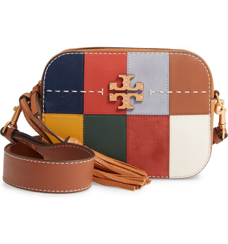 TORY BURCH McGraw Patchwork Leather Camera Bag, Main, color, ASSAM