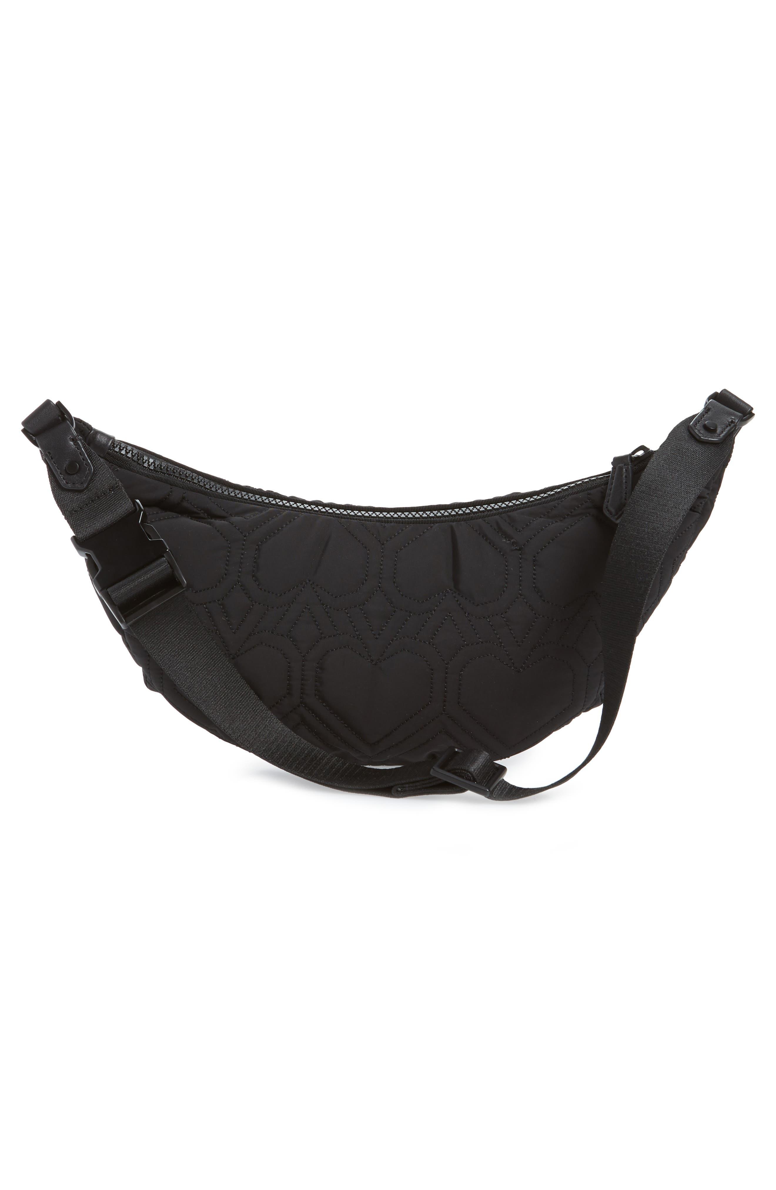,                             jayne heart quilted belt bag,                             Alternate thumbnail 4, color,                             BLACK