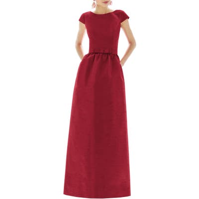 Alfred Sung Cap Sleeve Dupioni Full Length Dress, Red