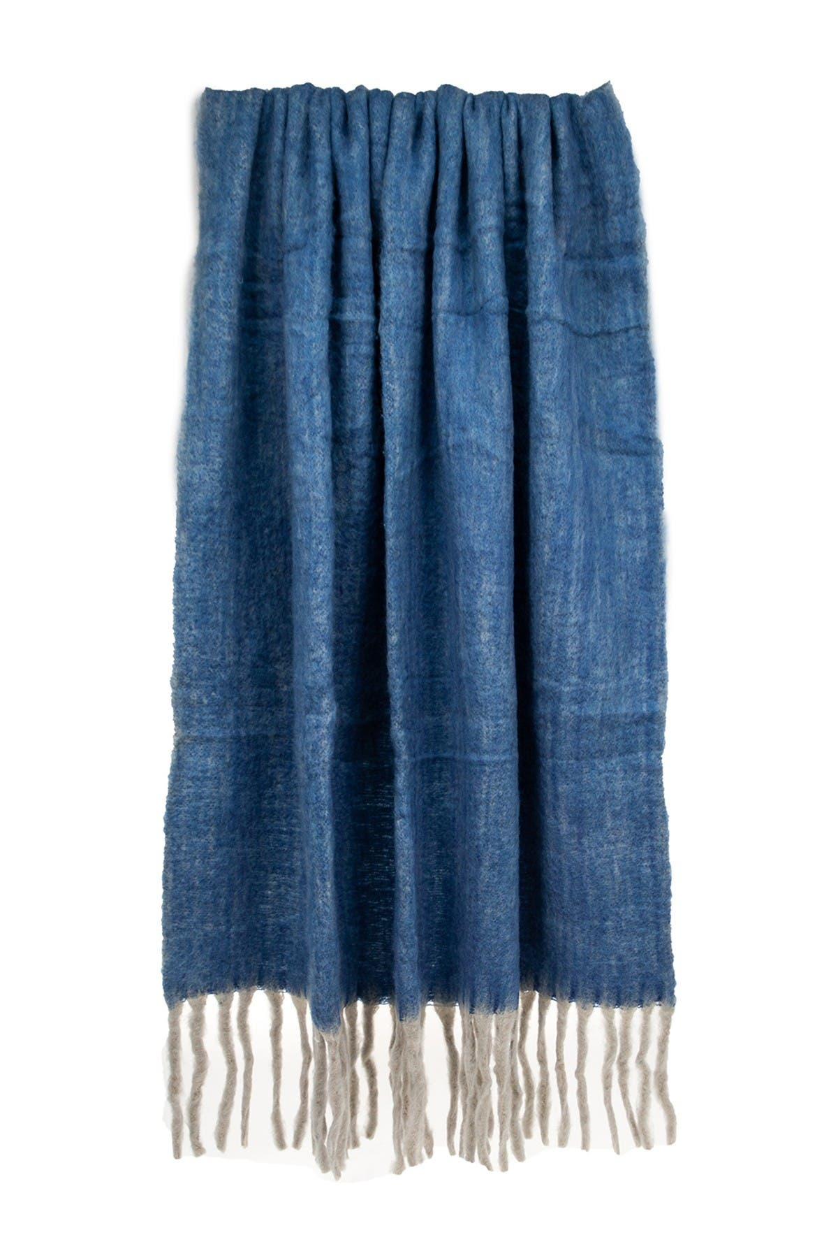 """Image of Parkland Collection Nagar Transitional Blue 52"""" x 67"""" Woven Handloom Throw Blanket"""
