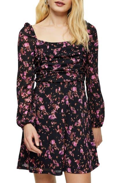 Topshop FLORAL PRINT RUCHED TEA DRESS