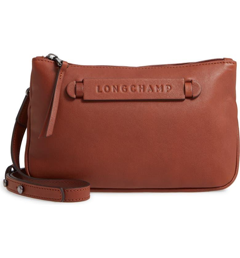 LONGCHAMP 3D Leather Crossbody Bag, Main, color, COGNAC