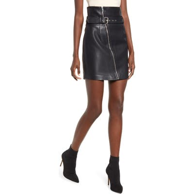 Blanknyc Belted Faux Leather Miniskirt, Black