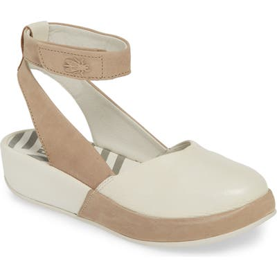 Fly London Boke Ankle Strap Flat - Beige