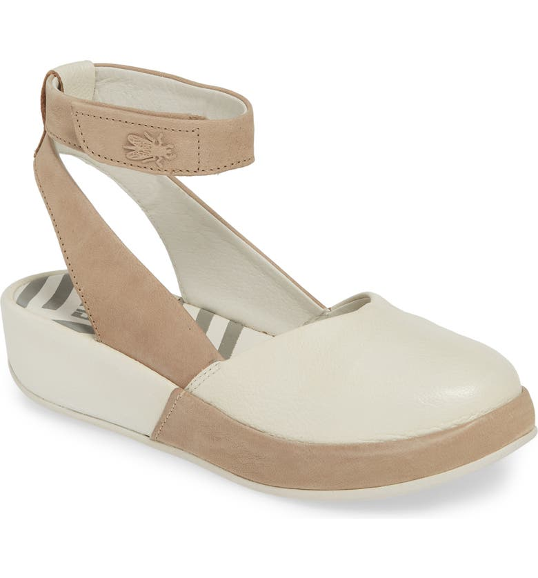 FLY LONDON Boke Ankle Strap Flat, Main, color, OFF WHITE/ CLOUD LEATHER