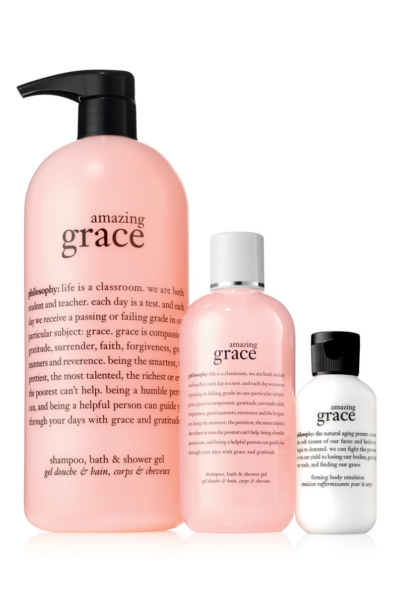 PHILOSOPHY amazing grace shower gel and body emulsion trio, Main, color, 000
