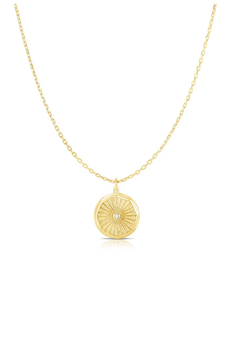 SPHERA MILANO 14K Gold Vermeil CZ Medallion Pendant Necklace, Main, color, YELLOW GOLD