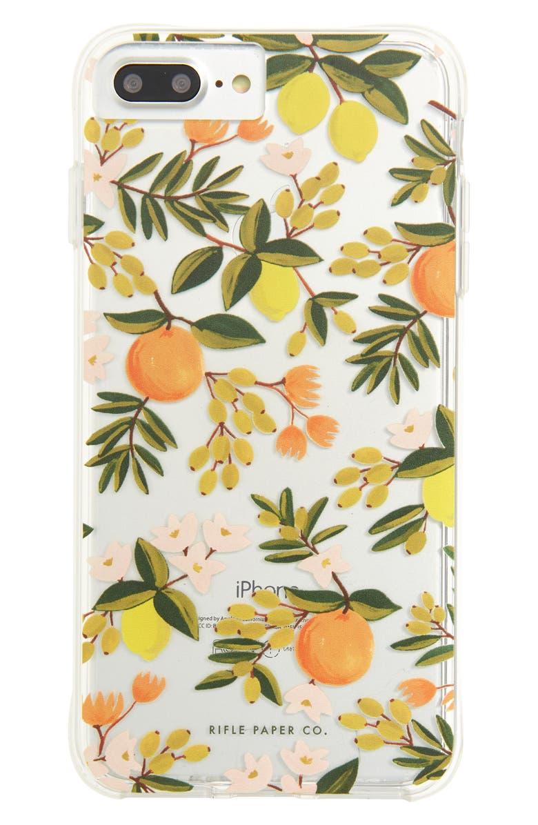 CASE-MATE<SUP>®</SUP> x Rifle Paper Co. Citrus Floral iPhone 6/6s/7/8 Plus iPhone Case, Main, color, 300