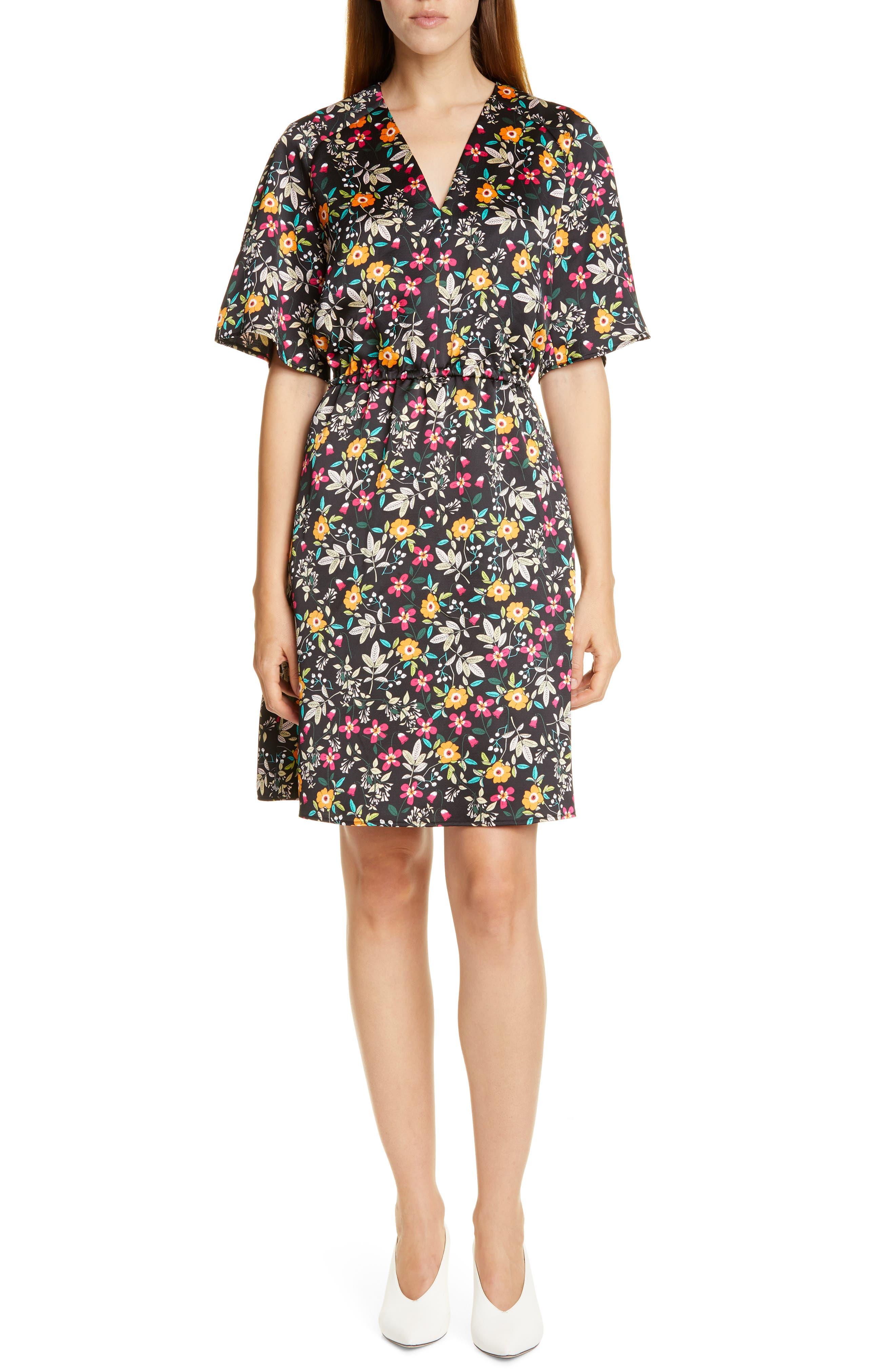 Hugo Kabela Floral Satin V-Neck Dress, Black