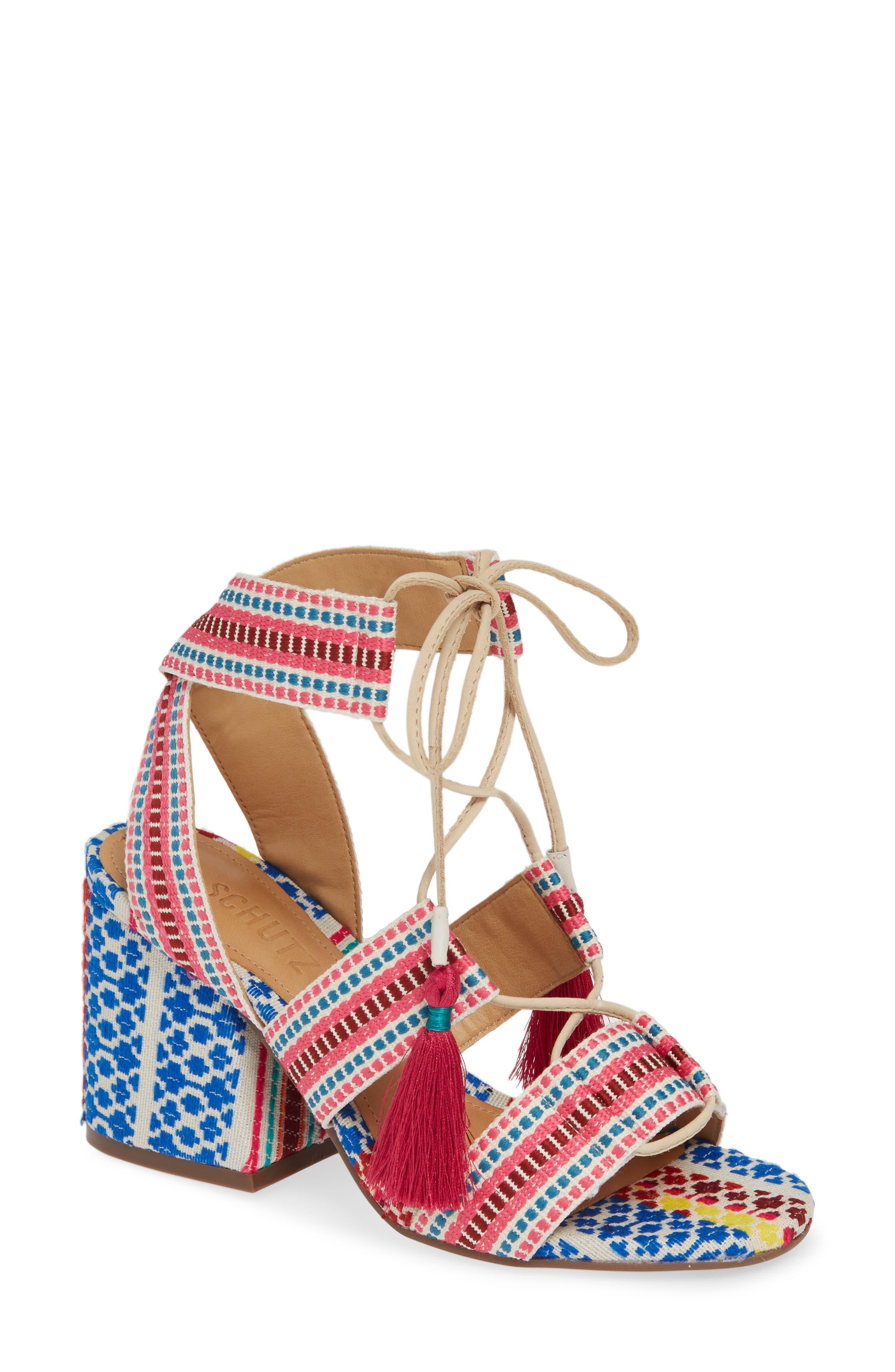 Schutz Emilen Embroidered Lace-Up Sandal (Women)