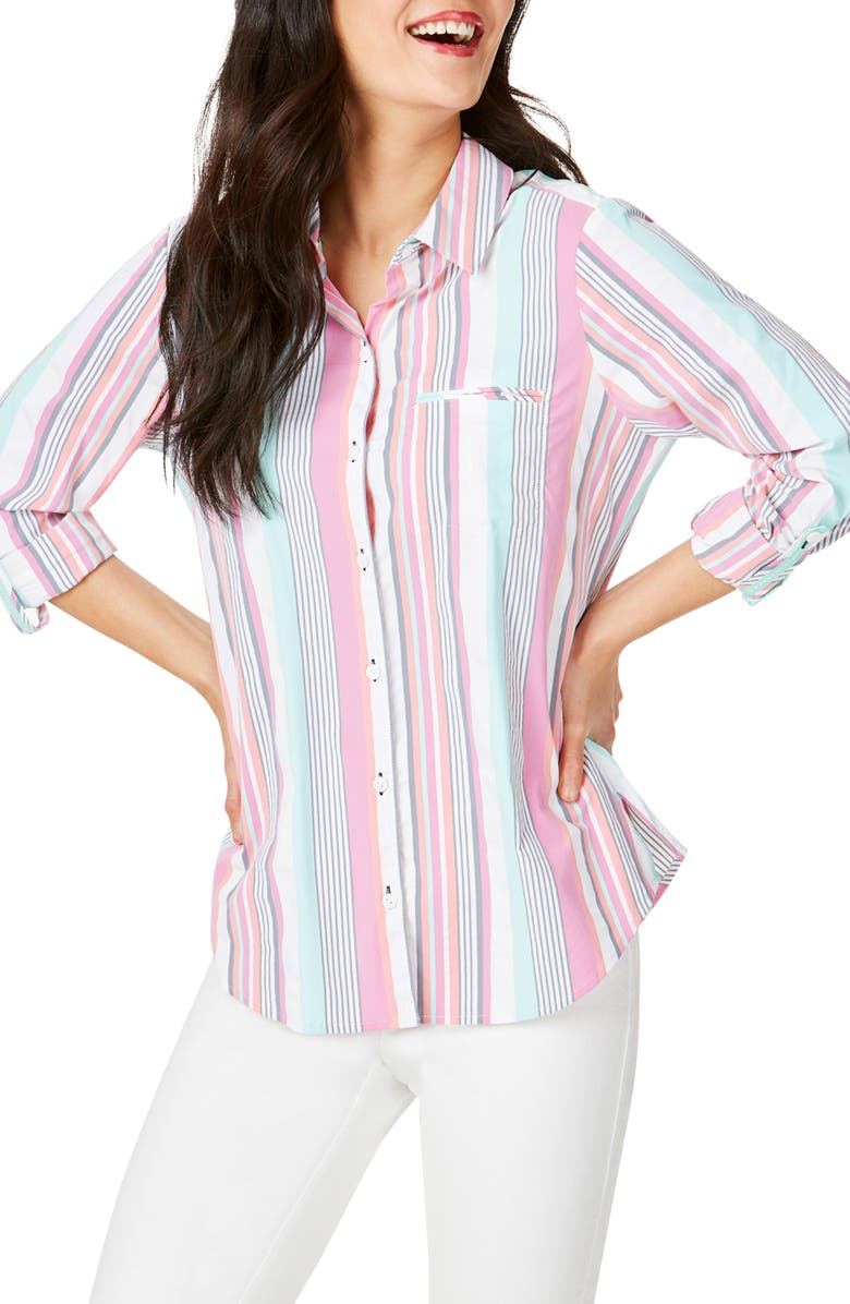 FOXCROFT Reese Stripe Seersucker UPF Wrinkle Free Shirt, Main, color, 660