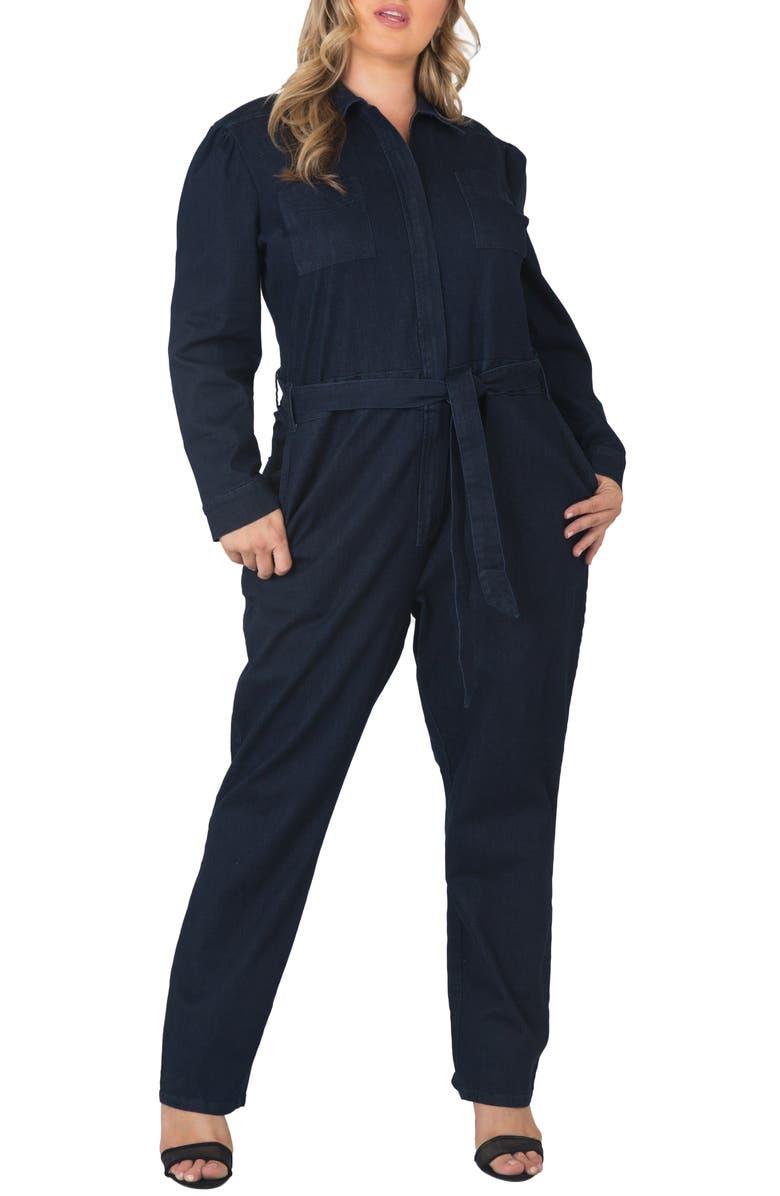 STANDARDS & PRACTICES Janeen Belted Denim Boilersuit, Main, color, 250