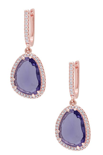 Image of Delmar Pink Plated Sterling Silver Synthetic Amethyst & White Topaz Drop Earrings