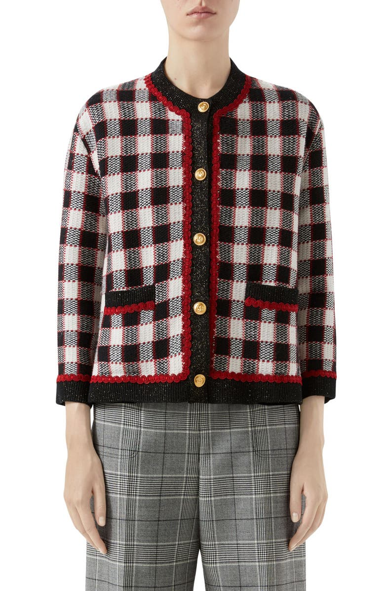 GUCCI Check Knit Wool Jacket, Main, color, IVORY/ RED