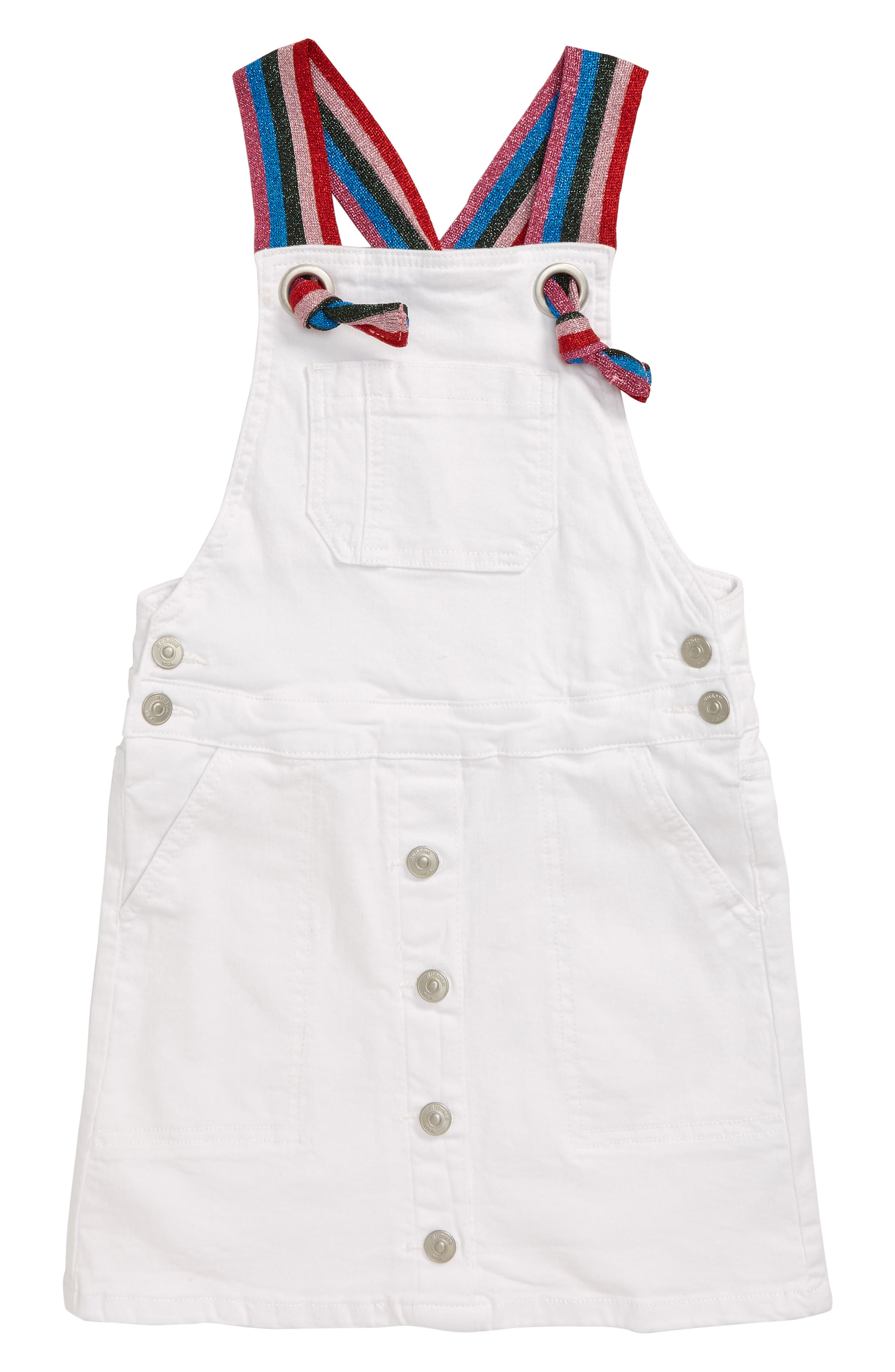 Toddler Girls Hudson Jeans Donna Pinafore Dress Size 4T  White