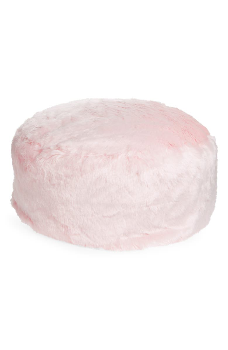 NORDSTROM AT HOME Cuddle Up Faux Fur Drum Pouf, Main, color, PINK FROSTY