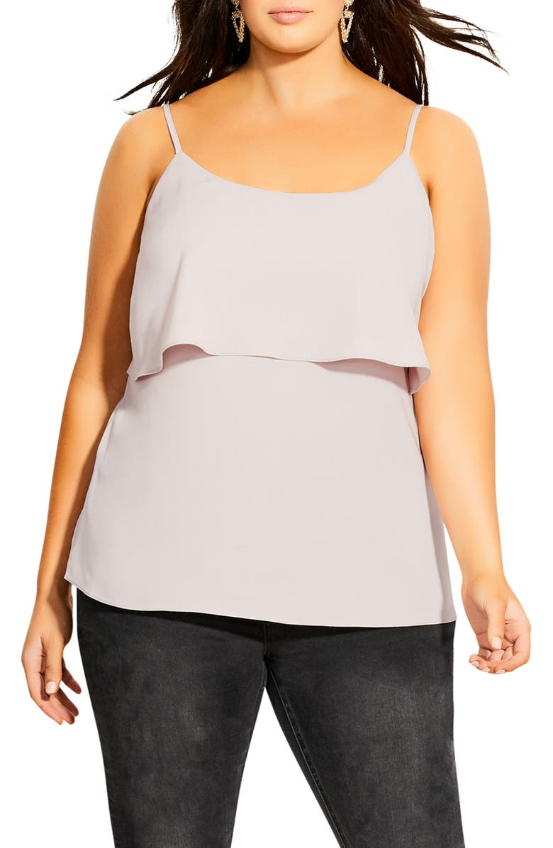 CITY CHIC Sweet Tier Camisole, Main, color, STONE