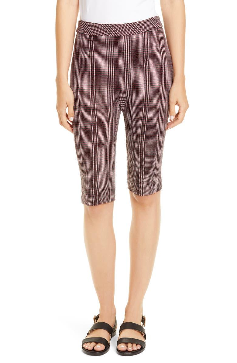 ROSETTA GETTY Glen Check Jacquard Biker Shorts, Main, color, ROUGE/ BLACK