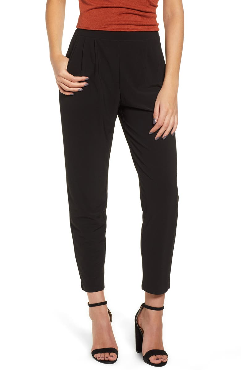 LEITH Pleat Front Trousers, Main, color, BLACK