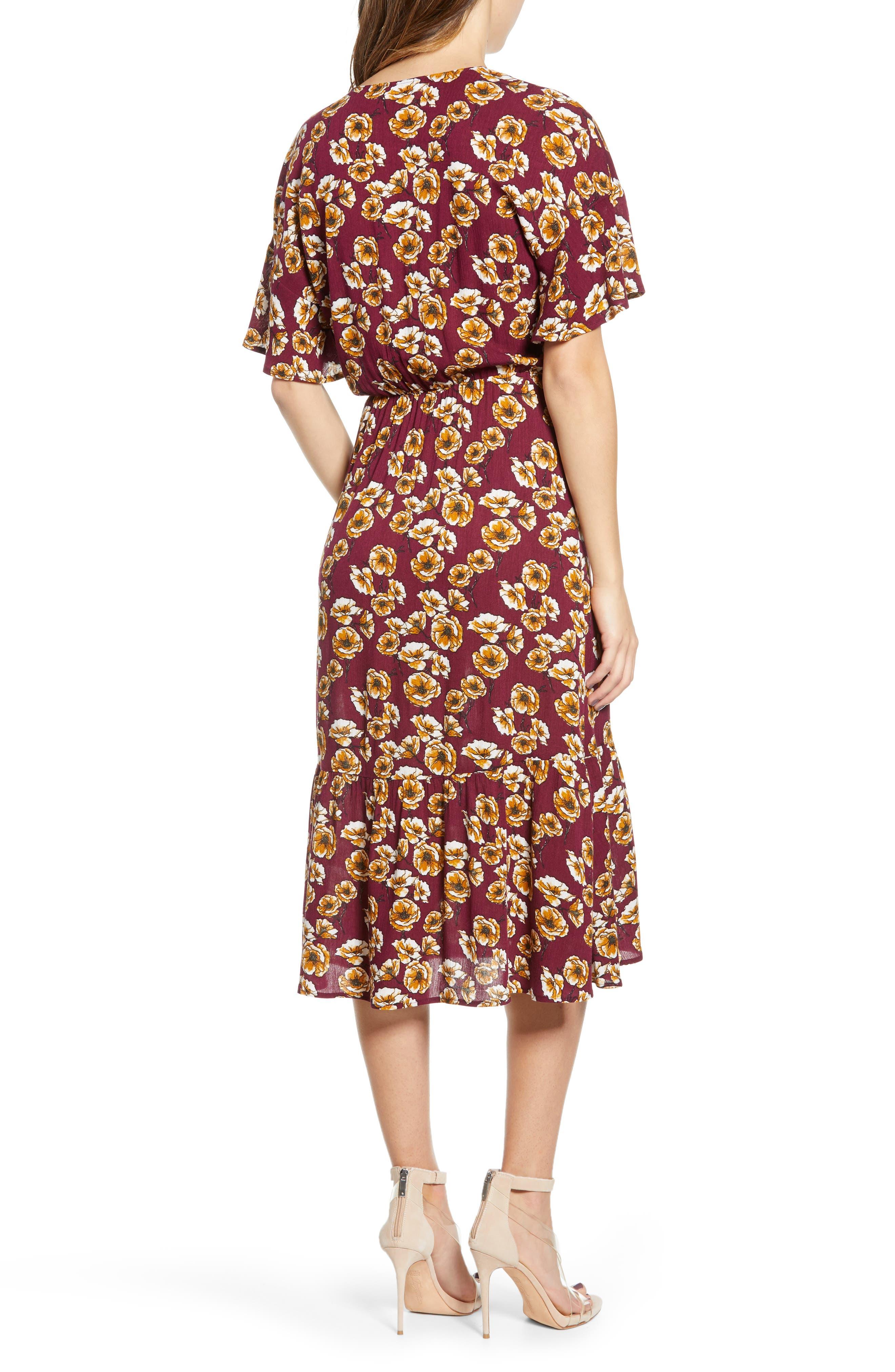 ,                             Surplice Midi Dress,                             Alternate thumbnail 2, color,                             BERRY/ GOLD FLORAL