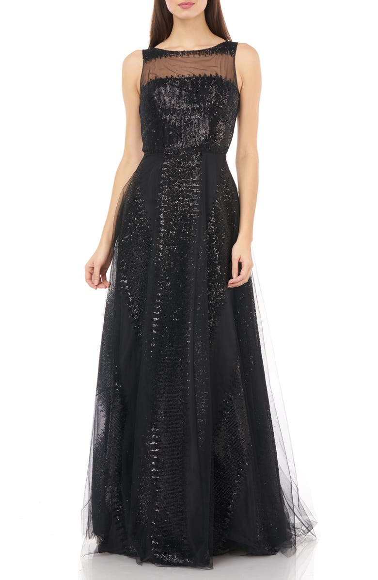 CARMEN MARC VALVO INFUSION Illusion Yoke Sequin Stripe Tulle Gown, Main, color, BLACK