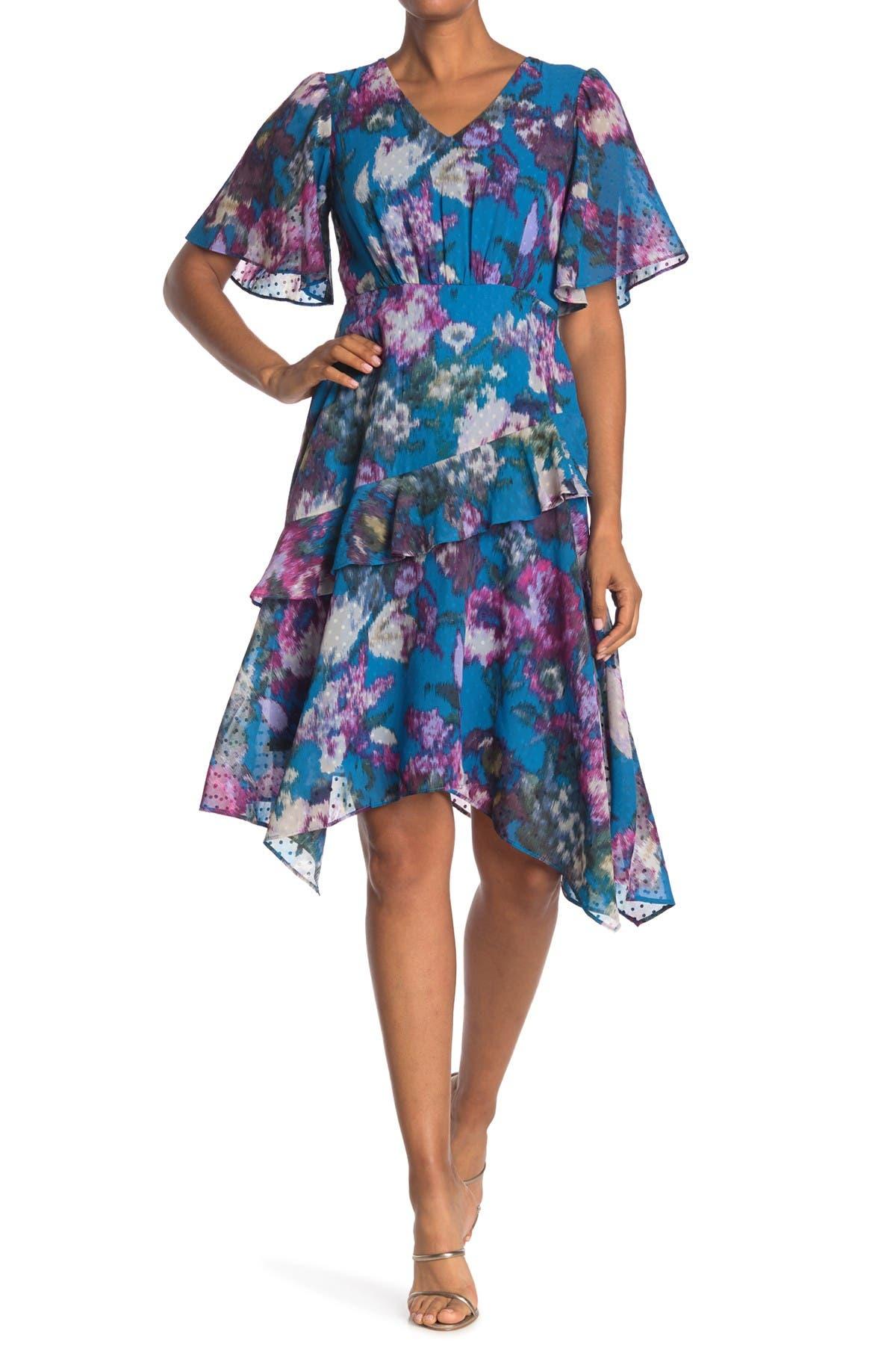 Image of Gabby Skye Short Sleeve Mini Dot Floral Ruffle Dress