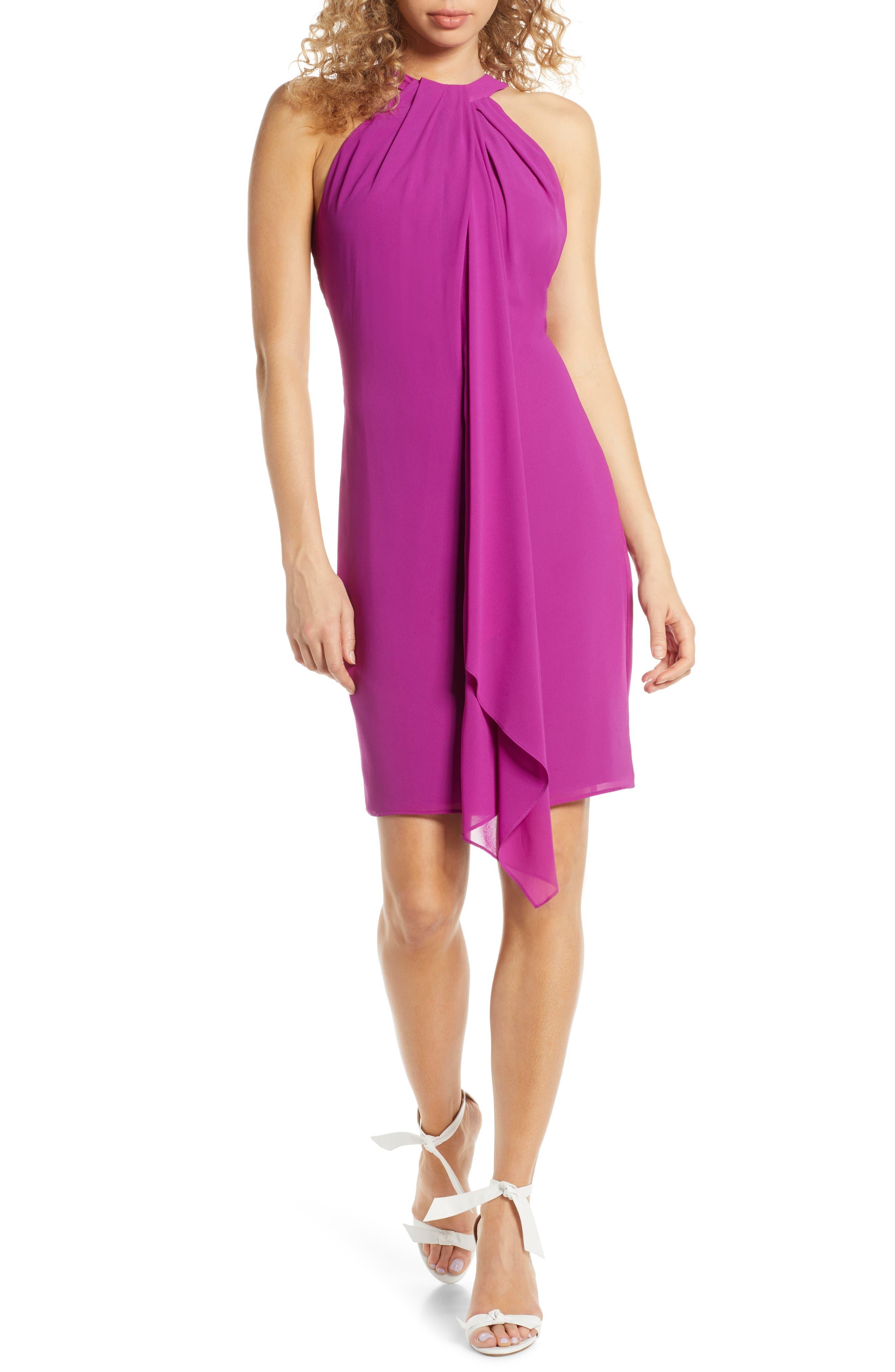 Mark + James By Badgley Mischka Drape Neck Halter Dress, Purple