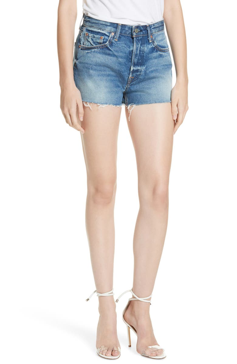 GRLFRND Cindy High Waist Denim Shorts, Main, color, TURN BLUE
