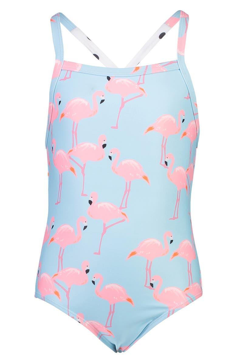 SNAPPER ROCK Flamingo Crossback Swimsuit, Main, color, FLAMINGO SOCIAL