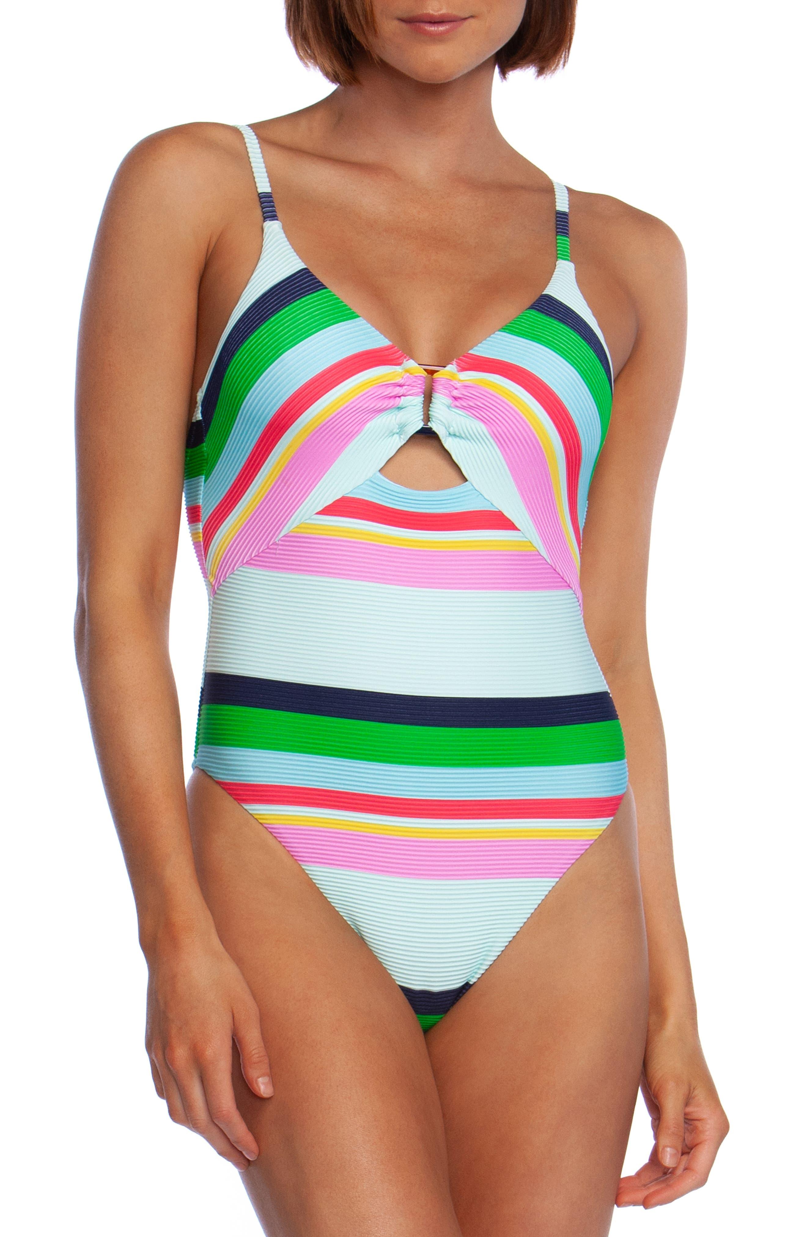 Trina Turk Deco Stripe One-Piece Swimsuit, Blue