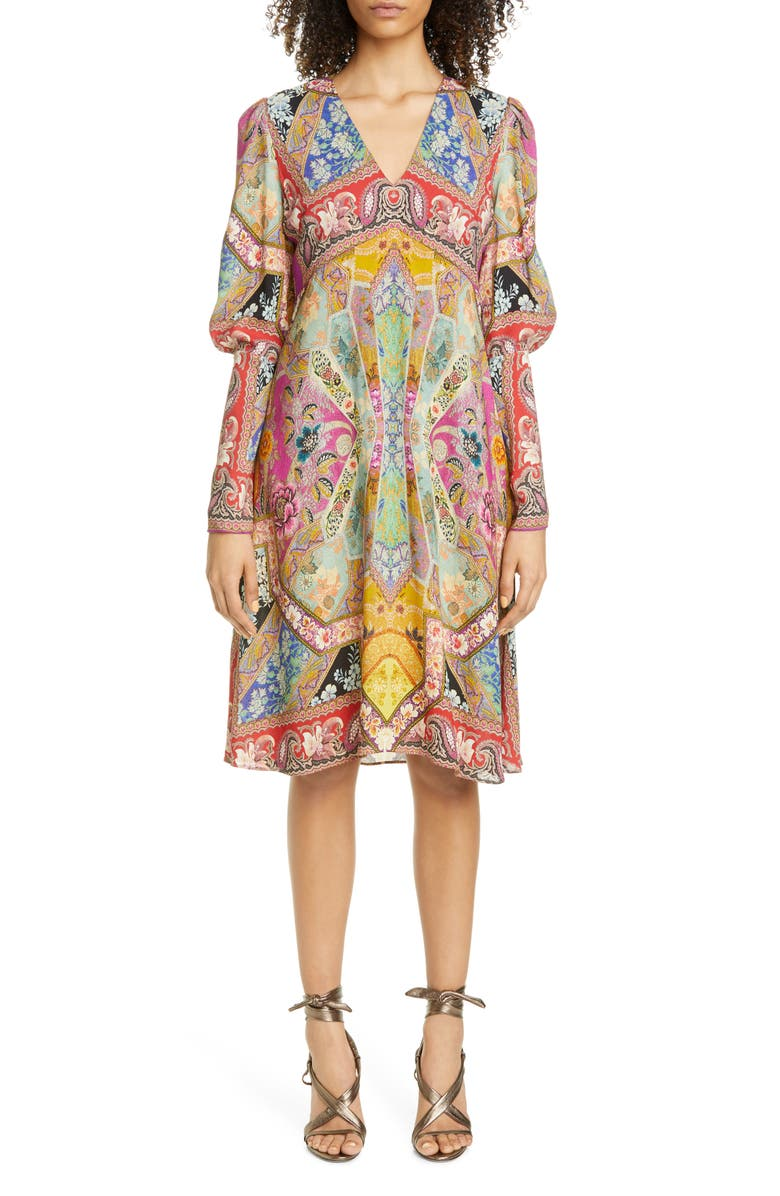 ETRO Floral Print Long Sleeve Dress, Main, color, PINK