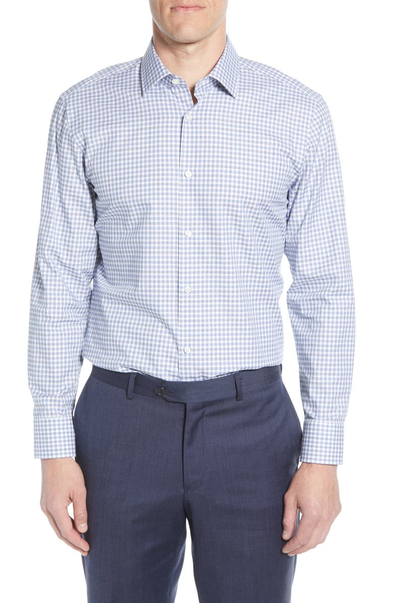 BOSS Trim Fit Check Dress Shirt, Main, color, NAVY
