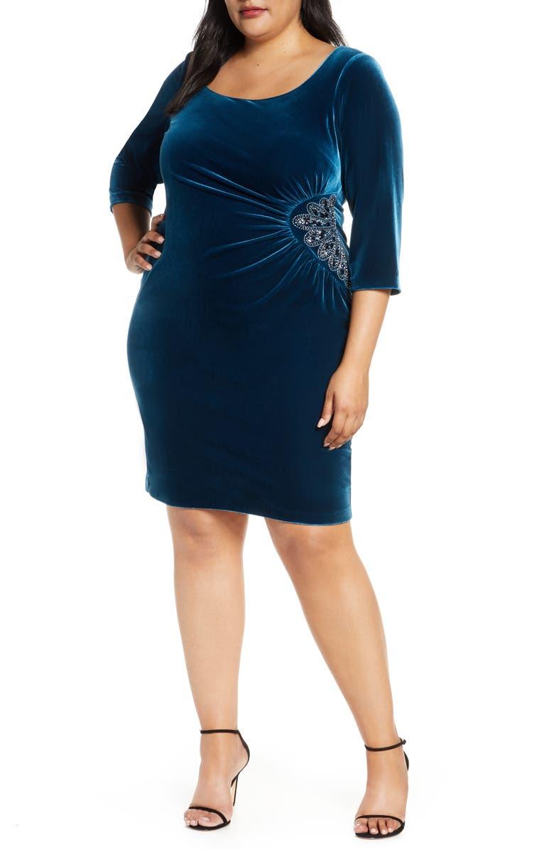 ALEX EVENINGS Side Ruched Velvet Cocktail Dress, Main, color, 460