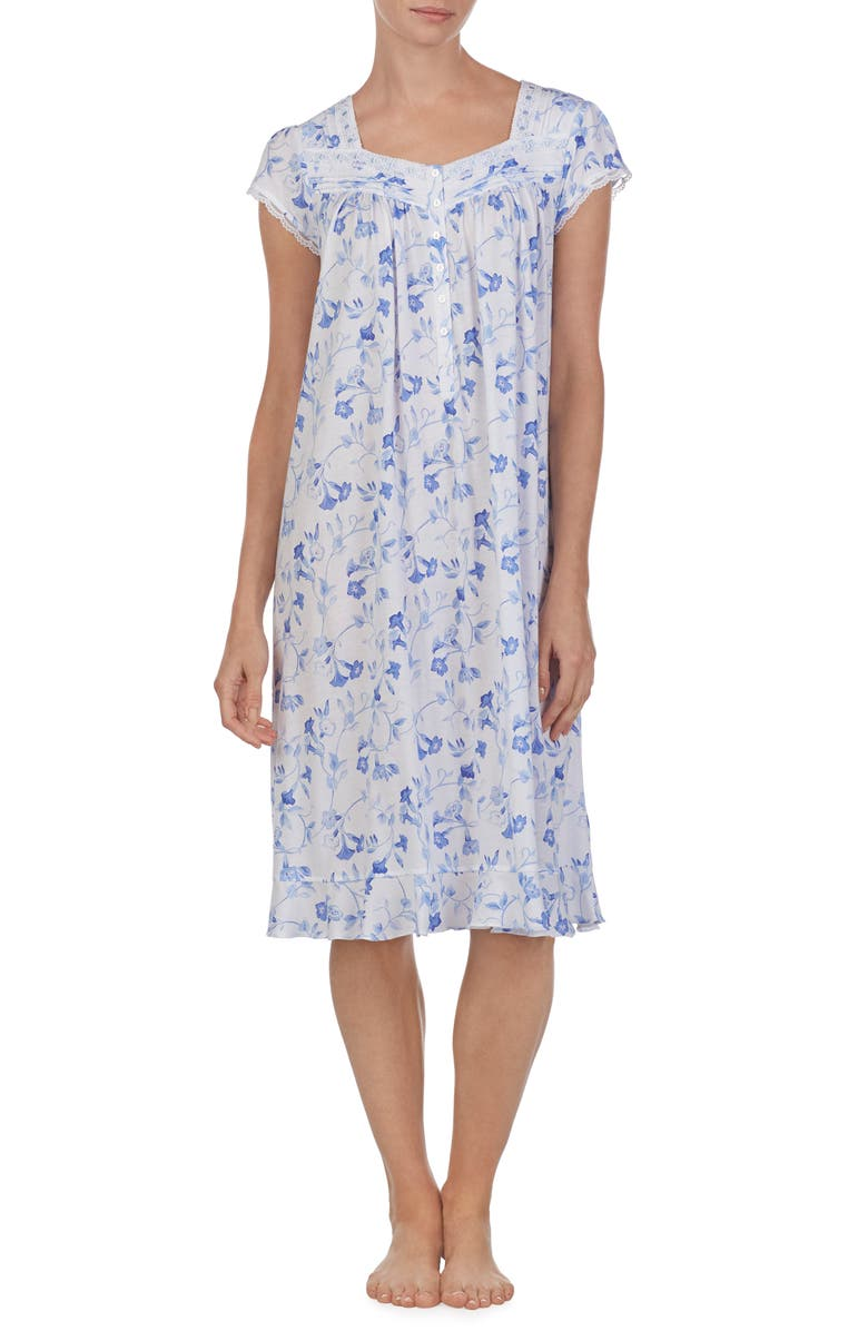 EILEEN WEST Waltz Nightgown, Main, color, WHITE GROUND TRUMPET VINE