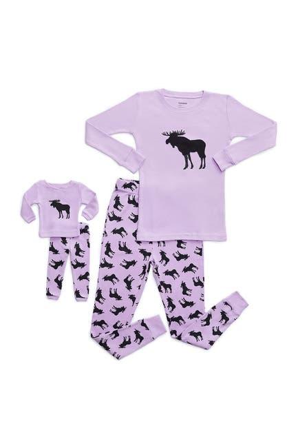Image of Leveret Moose Pajama & Matching Doll Pajama Set