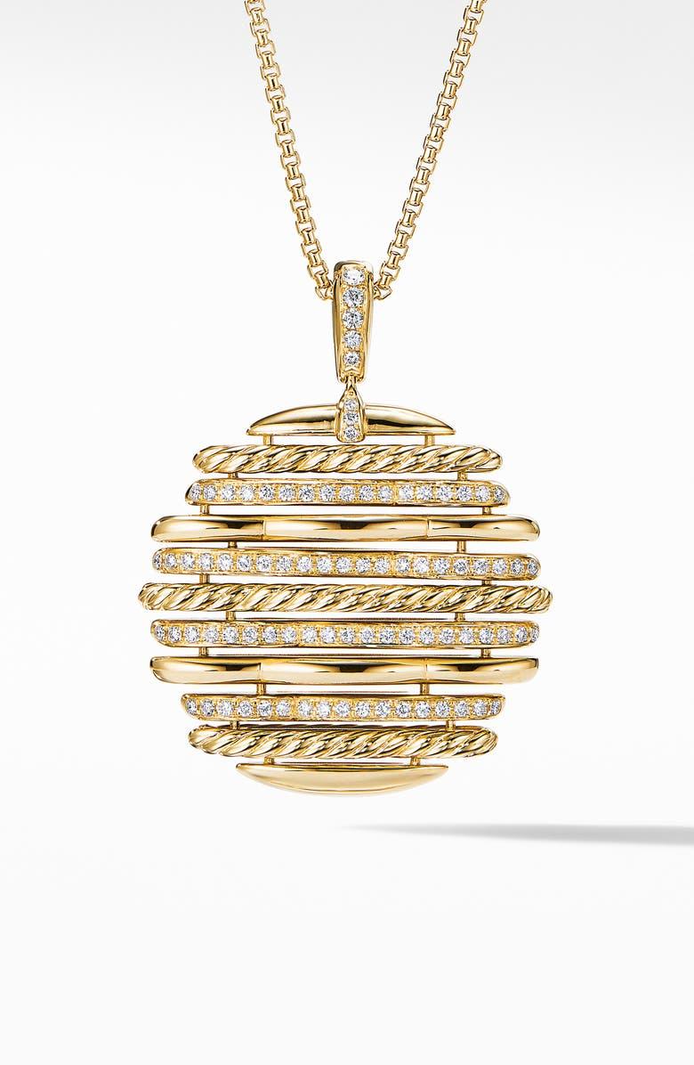 DAVID YURMAN Tides Pendant Necklace in 18K Yellow Gold with Diamonds, Main, color, GOLD/ DIAMOND