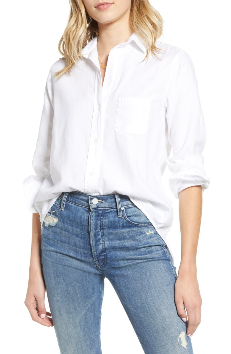 GRAYSON The Hero Feathered Cotton Flannel Button-Up Shirt, Main, color, OLIVIA