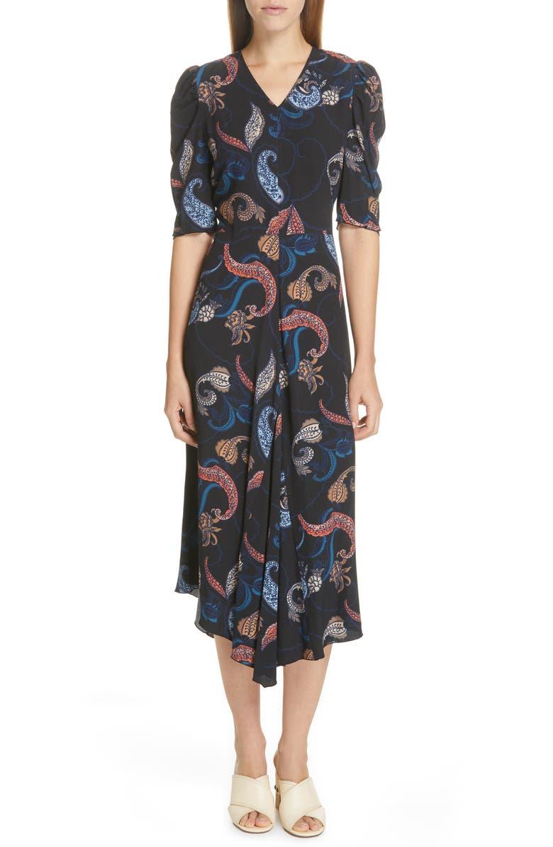 SEE BY CHLOÉ Handkerchief Hem Midi Dress, Main, color, BLACK