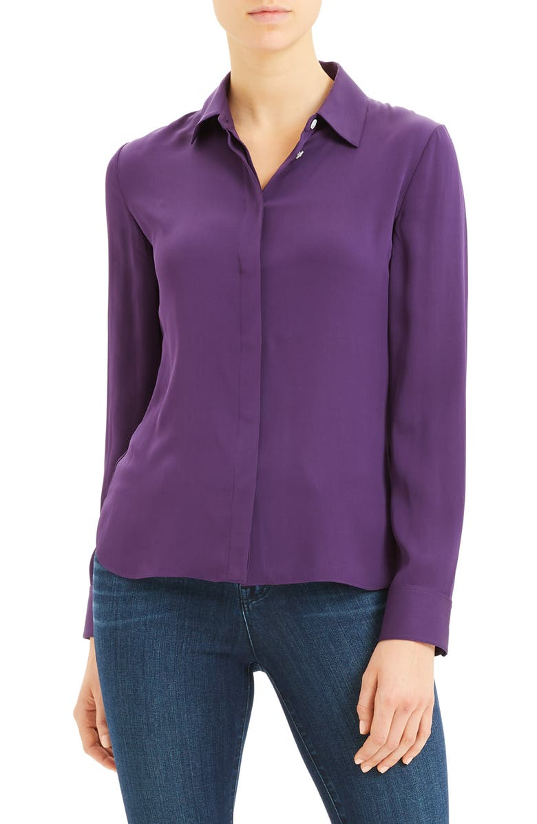 THEORY Classic Fitted Stretch Silk Shirt, Main, color, PLUM
