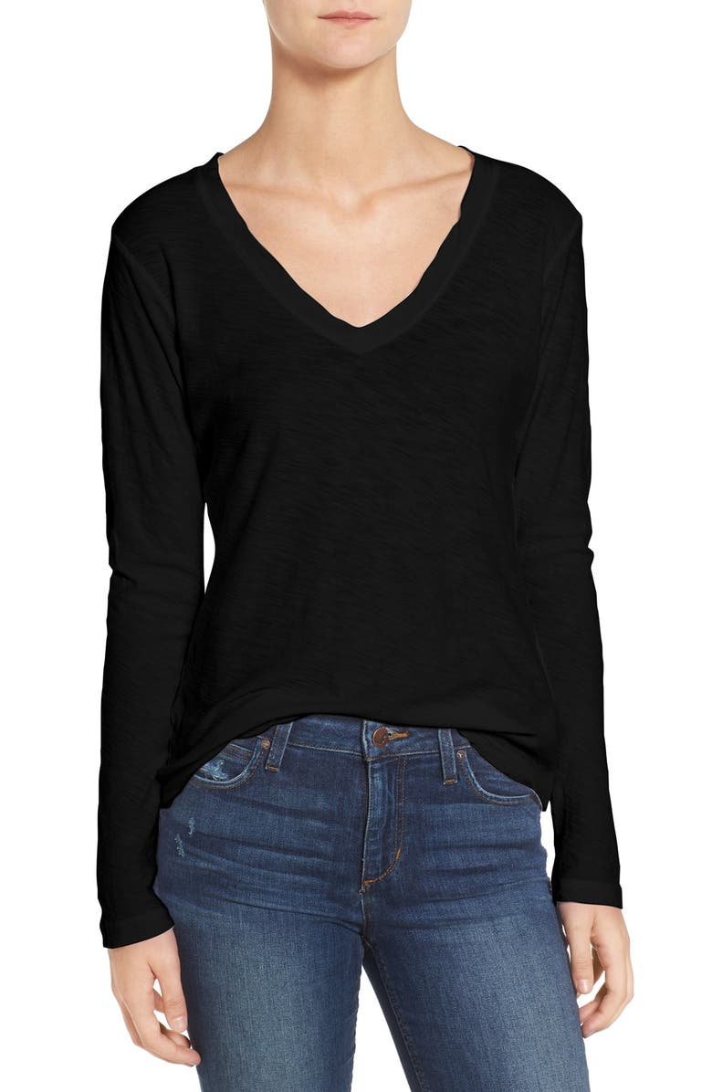 JAMES PERSE Slub Cotton V-Neck Long Sleeve Tee, Main, color, 001