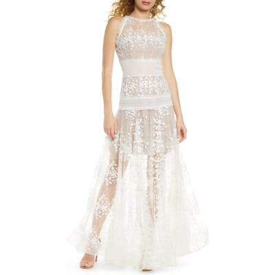 Bronx And Banco Megan Blanc Floral Lace Gown, White