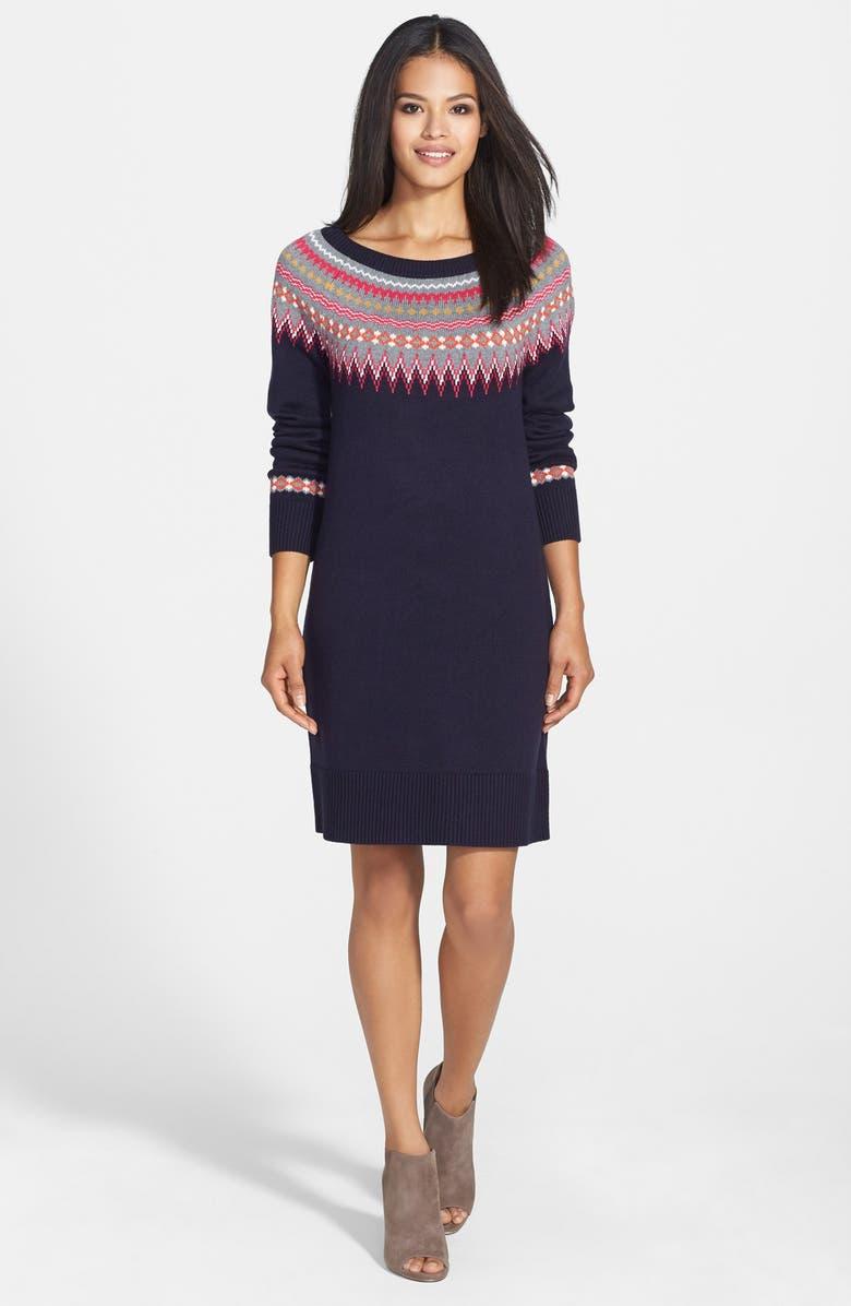 ELIZA J Fair Isle Sweater Dress, Main, color, 410