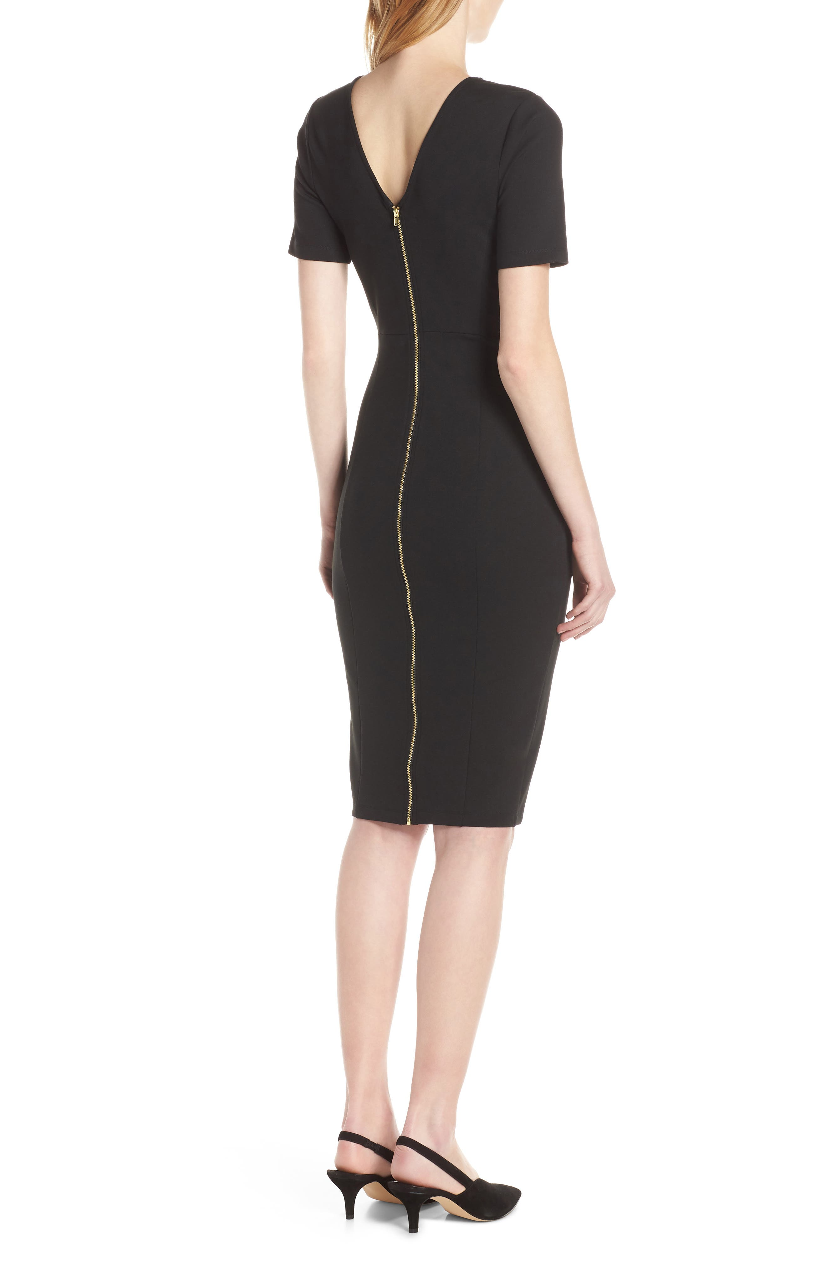 Zip Back Sheath Dress, Main, color, BLACK