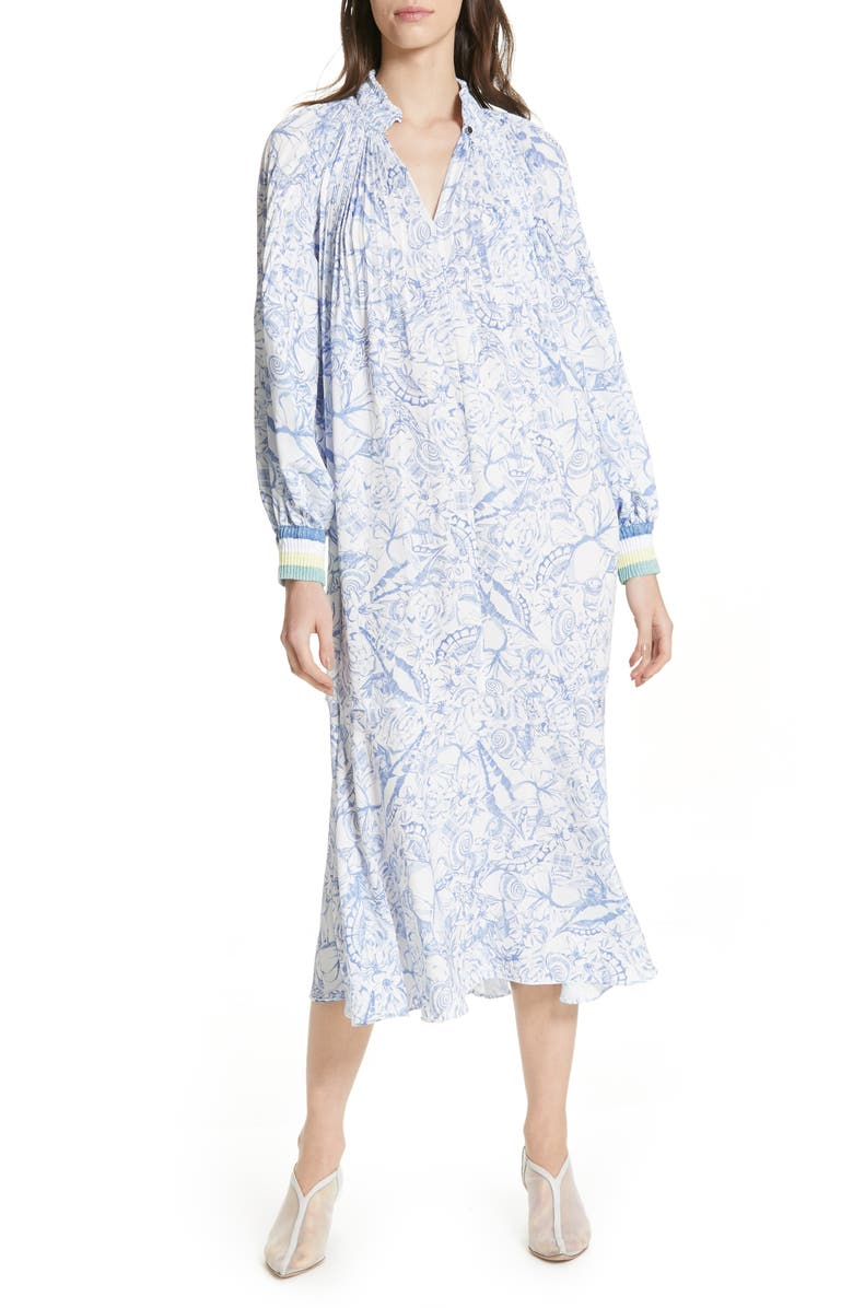 TIBI Isa Toile Print Ribbed Cuff Midi Dress, Main, color, 100