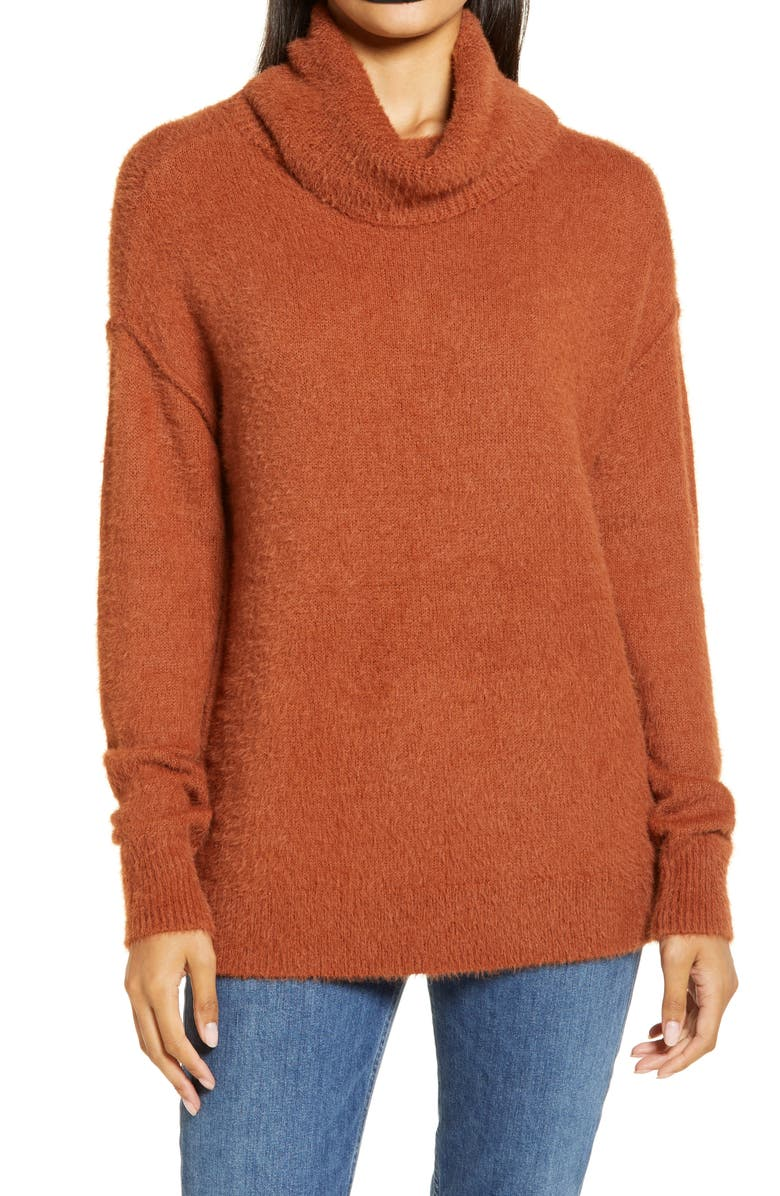 CASLON<SUP>®</SUP> Turtleneck Sweater, Main, color, RUST SEQUOIA