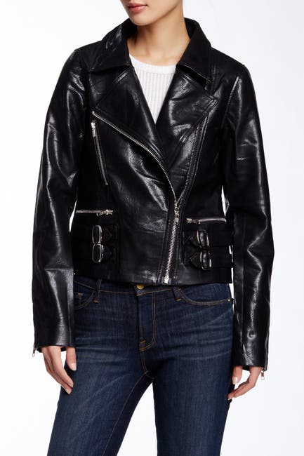 Image of TOV Studded Double Buckle Faux Leather Jacket
